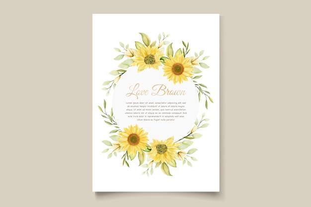 Zestaw kart kwiatowy zaproszenie słonecznika