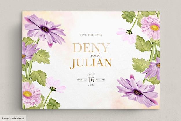 Zestaw kart kwiatowy zaproszenie
