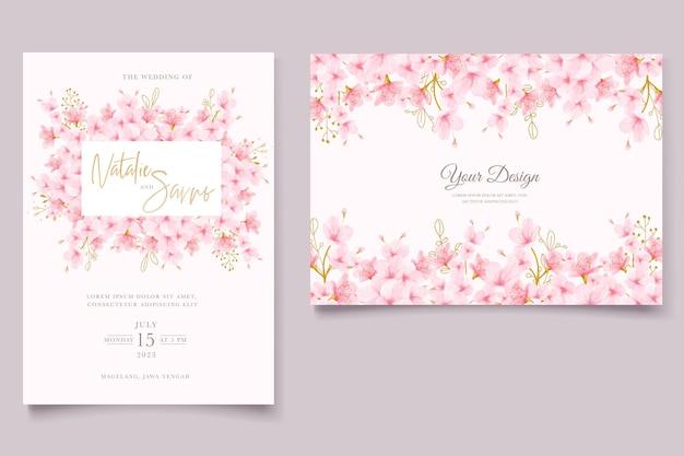 Zestaw kart kwiatowych akwarela kwiat wiśni