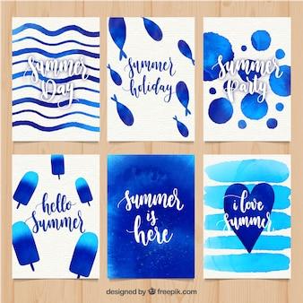 Zestaw kart lato z niebieskimi plamami