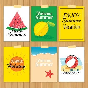 Zestaw kart letnich wyciągnąć rękę. etykieta wakacje płaska konstrukcja.