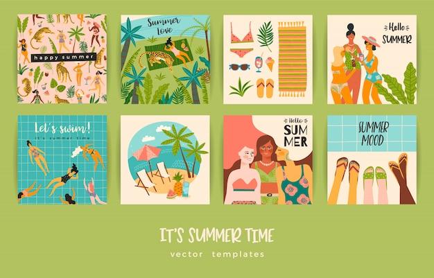 Zestaw kart letnich z ilustracjami