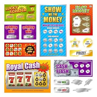 Zestaw kart loterii zdrapek