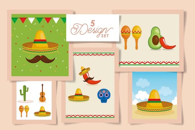 Zestaw kart meksykańskich elementów