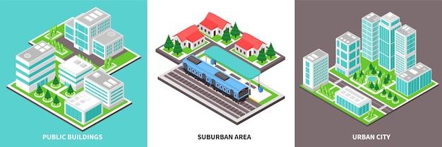 Zestaw kart miejskich izometryczny