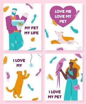 Zestaw kart miłosnych dla zwierząt domowych i właścicieli kot, pies i kreskówka ludzie trzymający papugę i ryby
