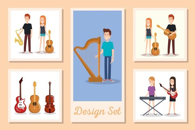 Zestaw kart młodych ludzi z instrumentami muzycznymi