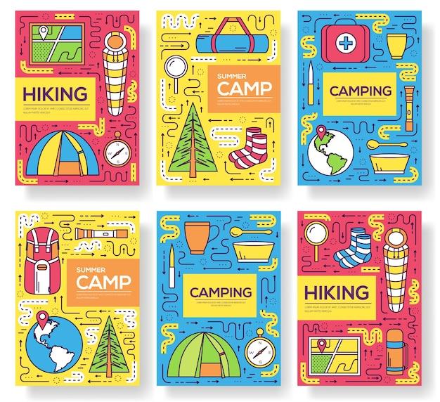 Zestaw kart na wycieczkę kempingową. szablon na wędrówki ulotek, czasopism, plakatów, okładek książek, banerów.
