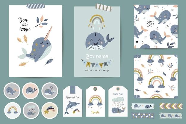 Zestaw kart, notatki, naklejki, etykiety, znaczki, tagi z ilustracjami wielorybów i tęczy, szablon życzeń. szablony kart do druku.