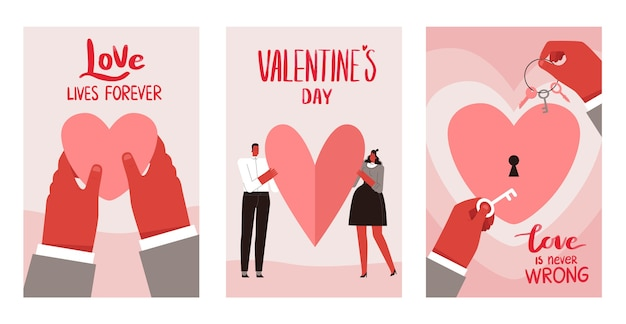 Zestaw kart o miłości na walentynki. na białym tle