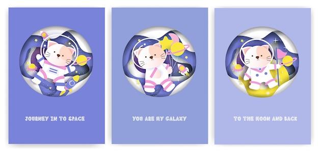 Zestaw kart okolicznościowych baby shower z uroczym kotem w galaktyce.