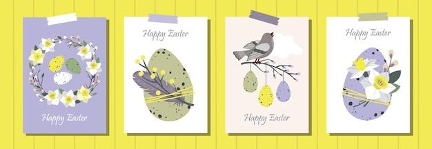 Zestaw kart okolicznościowych happy easter. pisanki, wieniec wierzbowy, ptak, narcyz, pióra.