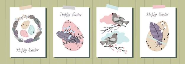 Zestaw kart okolicznościowych happy easter. pisanki, wieniec z piór, śpiewający ptak, wierzba.