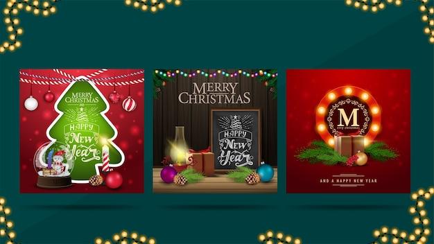 Zestaw kart okolicznościowych o tematyce bożonarodzeniowej