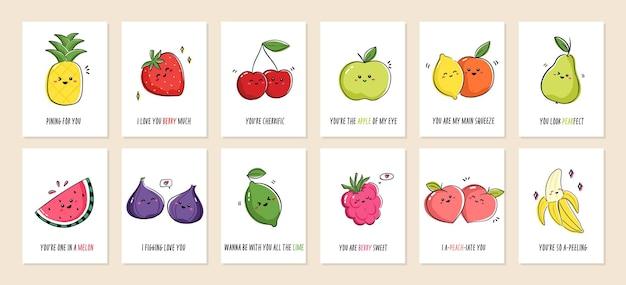 Zestaw kart okolicznościowych punny owoce z słodkie owoce i zabawne zwroty. kolekcja pocztówek z owocami kawaii i kalamburami. ilustracja kreskówka.