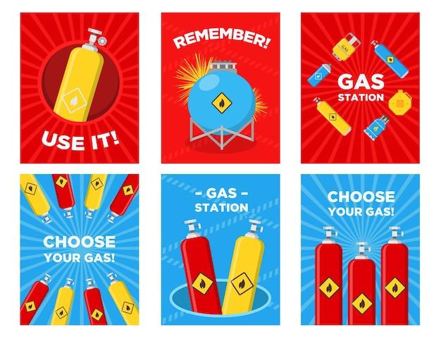 Zestaw kart okolicznościowych stacji benzynowej. butle, zbiorniki, kanistry z łatwopalnymi znakami wektorowymi z tekstem reklamowym. szablony do plakatów lub ulotek na stacjach benzynowych