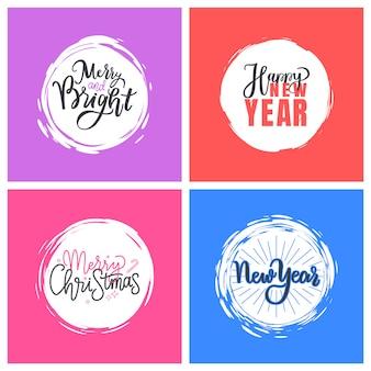 Zestaw kart okolicznościowych wesołych świąt