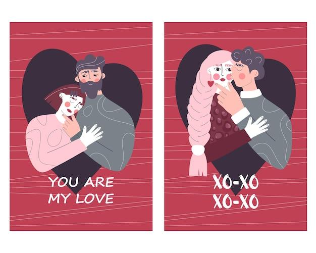 Zestaw kart okolicznościowych z zakochanymi parami.