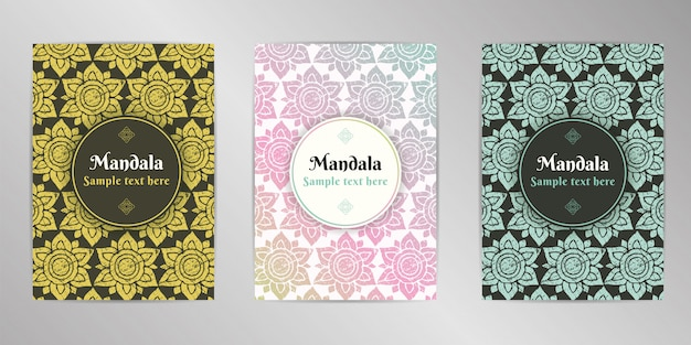 Zestaw kart ozdobny projekt mandali