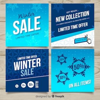 Zestaw kart płaskie zimowe sprzedaż