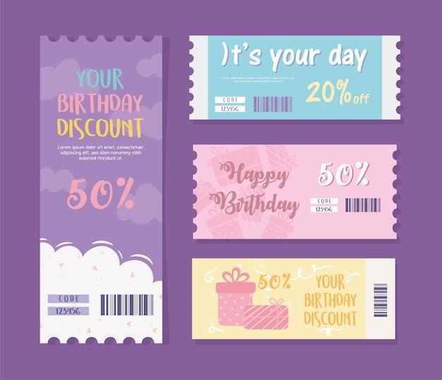 Zestaw kart podarunkowych na urodziny
