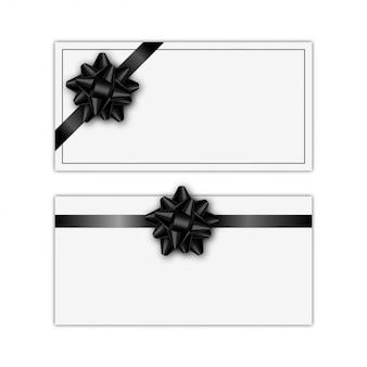 Zestaw kart podarunkowych z czarną wstążką i kokardą