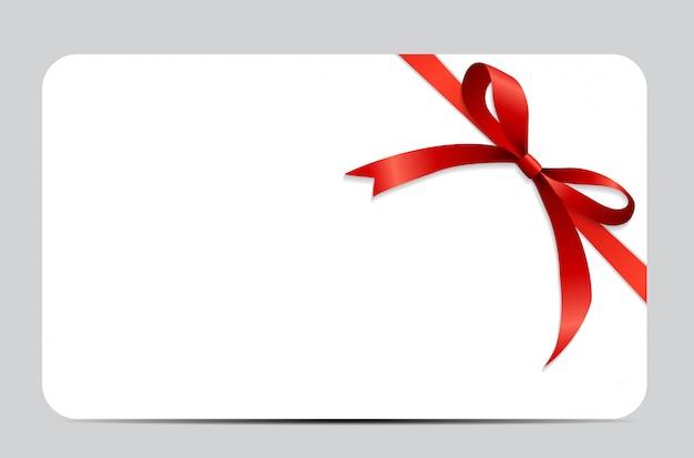 Zestaw kart podarunkowych z czerwoną wstążką i kokardą.