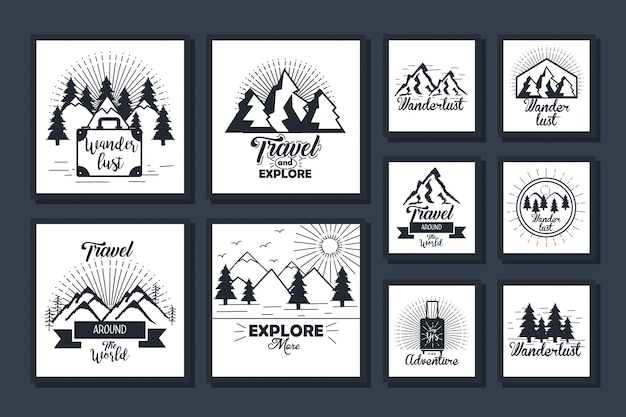 Zestaw kart podróży i odkrywania