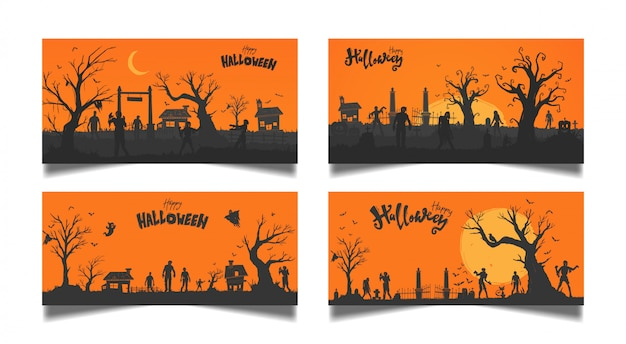 Zestaw kart pomarańczowy halloween