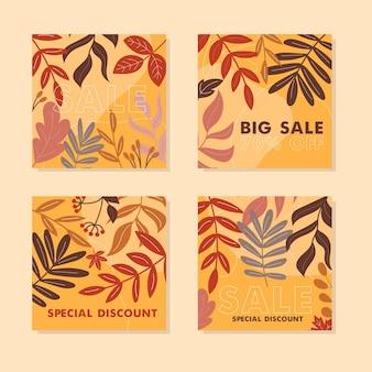 Zestaw kart rabatowych w pomarańczowych i brązowych kolorach jesiennych liści