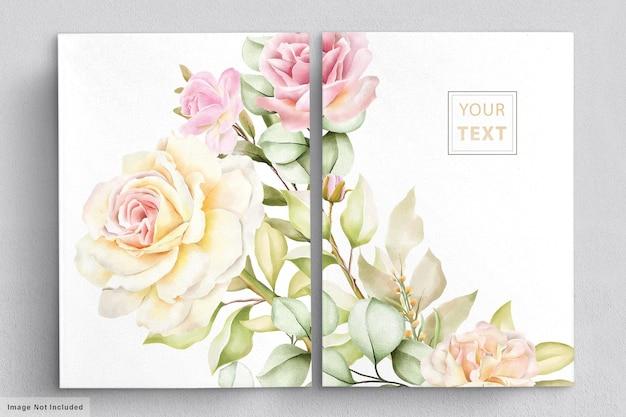 Zestaw kart romantyczny kwiatowy ślub akwarela