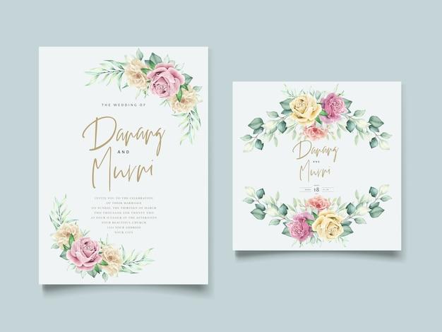 Zestaw kart ślubnych akwarela kwiatowy element