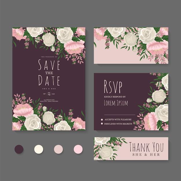 Zestaw kart ślubnych kwiatowy