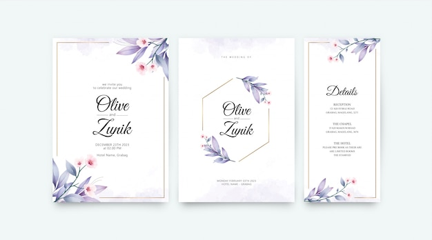 Zestaw kart ślubnych szablon z akwarela dekoracje kwiatów i liści