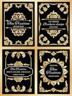 Zestaw kart ślubnych tajlandii z kwiecistymi ramkami w stylu tajskim i obramowaniami