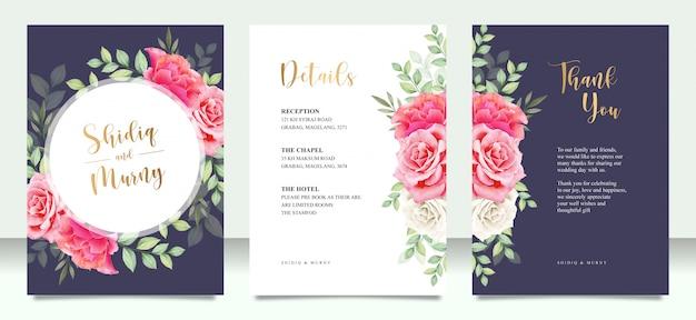 Zestaw kart ślubnych z kwiatów i liści