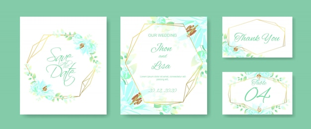 Zestaw kart ślubnych z pięknym kwiatkiem