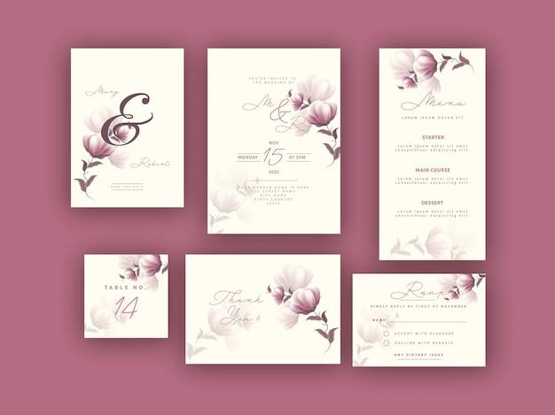 Zestaw kart ślubnych z pięknym kwiatowym wzorem.
