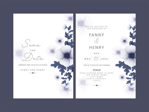 Zestaw kart ślubnych z pięknym wzorem.