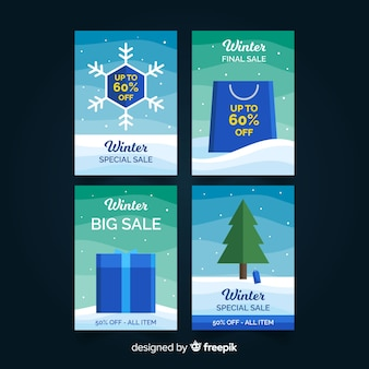 Zestaw kart sprzedaży zimowych