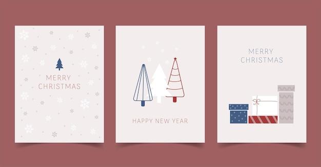 Zestaw kart świątecznych i postów w mediach społecznościowych w prostym stylu