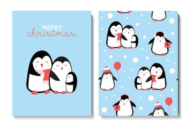 Zestaw kart świątecznych i szczęśliwego nowego roku z uroczymi świątecznymi pingwinami