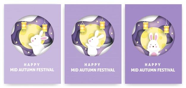 Zestaw kart świątecznych z połowy jesieni z uroczymi królikami i księżycem w stylu wycinanki.