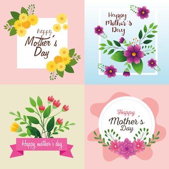 Zestaw kart szczęśliwego dnia matki z dekoracją kwiatów