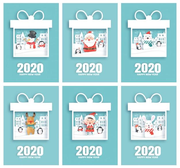 Zestaw kart szczęśliwego nowego roku 2020 z mikołajem i przyjaciółmi w stylu cięcia papieru
