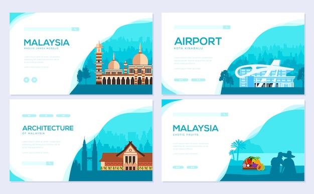 Zestaw kart tradycyjnej architektury. szablon ulotki, baner internetowy, nagłówek interfejsu użytkownika, wejście do witryny.