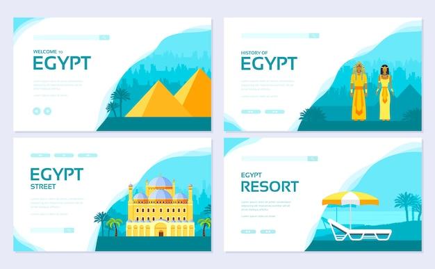 Zestaw kart tradycyjnych broszur wakacyjnych. szablon ulotki, baneru internetowego, nagłówka interfejsu użytkownika, wprowadź witrynę.