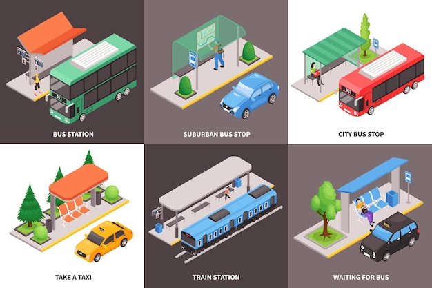 Zestaw kart transportu publicznego miasta izometryczny