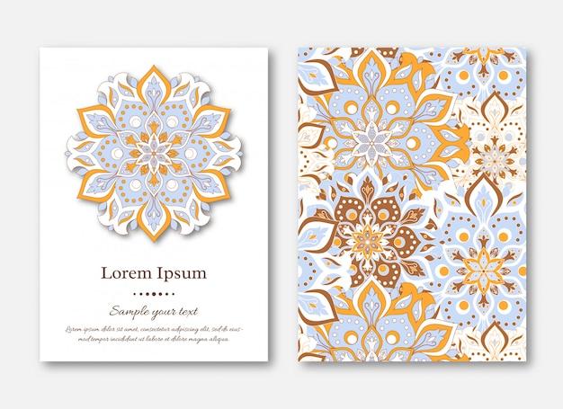 Zestaw kart, ulotek, szablonów z ręcznie rysowane manda