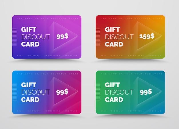 Zestaw kart upominkowych lub rabatowych z miękkimi gradientami kolorów.